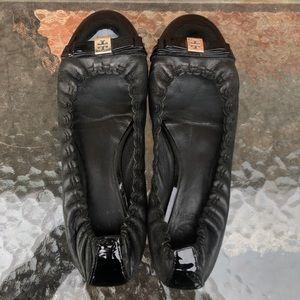 Tory Burch Romy Cap-Toe black leather Ballet Flats